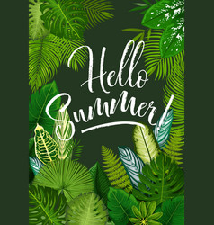 Summer tropical poster with green leaf of palm vector