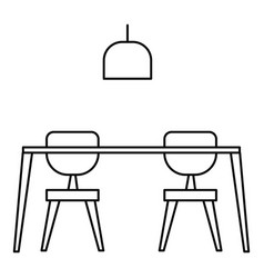 table and chairs icon outline style vector image