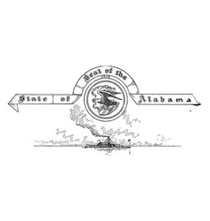 the united states seal of alabama vintage vector image