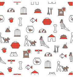 thin line art pets seamless pattern vector image