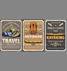 Travel rafting trekking and kayaking sports vector
