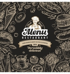 Vintage sketch fast food vector