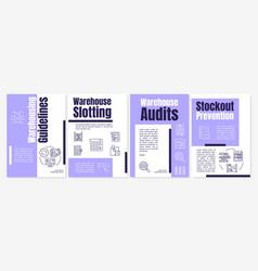 Warehousing guidelines purple brochure template vector