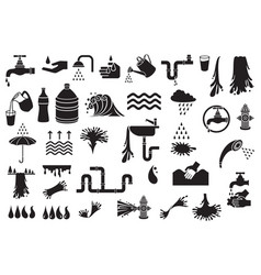 water icons set - design elements vector image