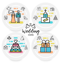 Wedding line icons concept vector