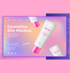 White cosmetic tube on bright modern site vector