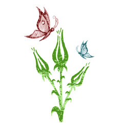 Wild flowers with butterfly vector