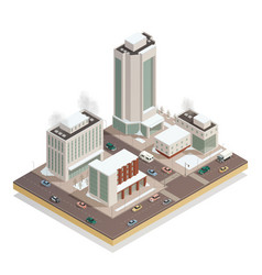 Winter city center isometric composition vector