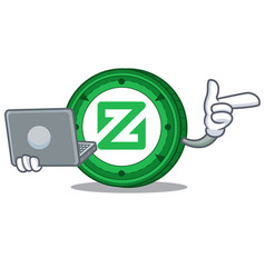 With laptop zcoin character cartoon style vector