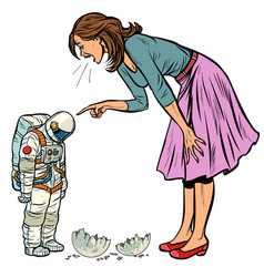 woman scolds astronaut the guilty destroyed moon vector image