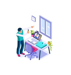 Working at comfortable home concept vector