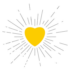 Yellow heart placed in center with black rays vector