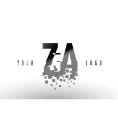 Za z a pixel letter logo with digital shattered vector