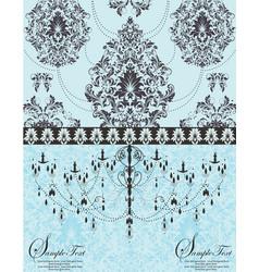 blue vintage invitation floral card vector image
