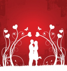 couple kissing | red 1 vector image