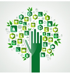 Eco green hand tree vector image vector image