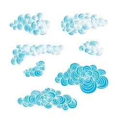 Set of decorative hand drawn color clouds vector image