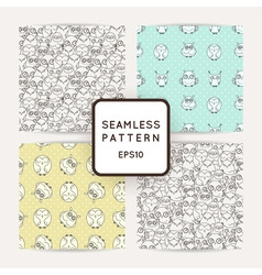 Set of random owls seamless patterns Cute nignht vector image