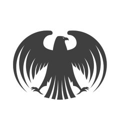 Silhouette of a black eagle with outspread wings vector image