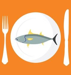 Tuna fish on plate vector image