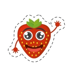 cartoon tasty strawberry fruit cut line vector image vector image