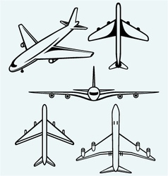 Collection of different airplane vector image