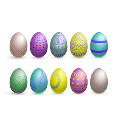 glitter easter eggs on a white background vector image vector image