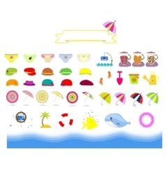 isolated summer beach stuff on a white background vector image vector image