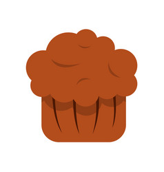 chocolate muffin icon flat style vector image