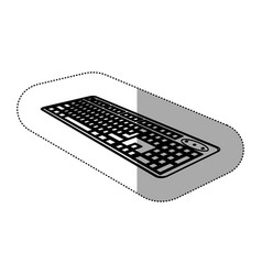 contour computer keyboard icon vector image vector image