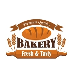 Fresh tasty bakery products premium quality label vector image vector image