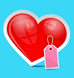 Heart Symbol with Empty Label on Blue Background vector image