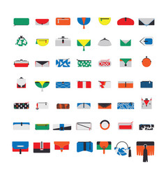 large collection with flat purses and handbags vector image vector image