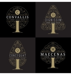 luxury logo templates set in the form of a tree vector image vector image