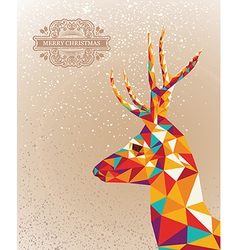 Merry Christmas colorful reindeer shape background vector image vector image