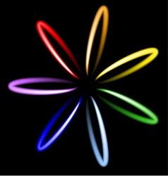 Neon rainbow flower vector