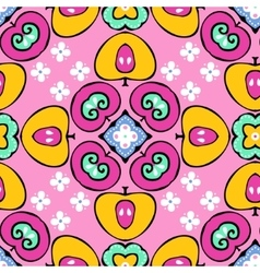 seamless pattern of fruits and flowers vector image vector image