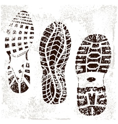a high detailed set of three grunged shoe tracks vector image