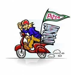 boy delivering pizza on scooter vector image