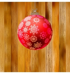 Christmas wood background with ball EPS8 vector image vector image