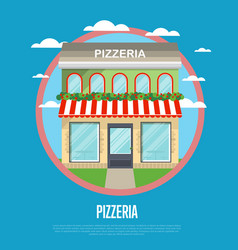 facade of pizzeria restaurant in flat design vector image vector image