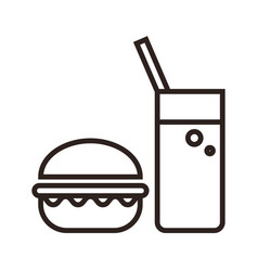 fast food hamburger and drink icon vector image