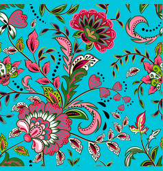 Seamless pattern with fantasy flowers natural vector