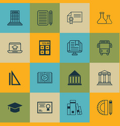 set of 16 education icons includes academy taped vector image vector image