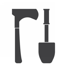 Shovel and Hatchel Outline Icons vector image