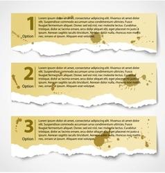 Vintage torn paper progress option labels vector image vector image