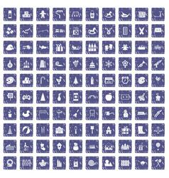100 preschool education icons set grunge sapphire vector