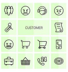 14 customer icons vector