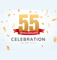 55 anniversary gold numbers with golden confetti vector image