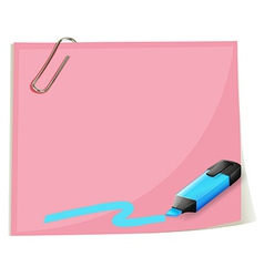 A pink empty paper and a blue highlighter vector image